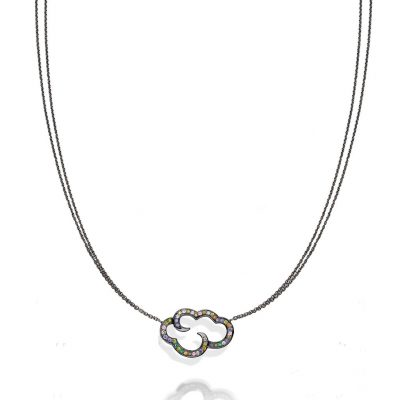 Daydream in Colour…….Black rhodium plated sterling silver cloud pendant on 18″ chain