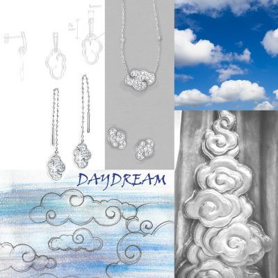 Daydream 'open cloud' sterling silver pendant on 18″ chain
