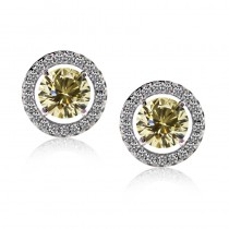 Carat Classic Border Set Studs In Fancy Yellow