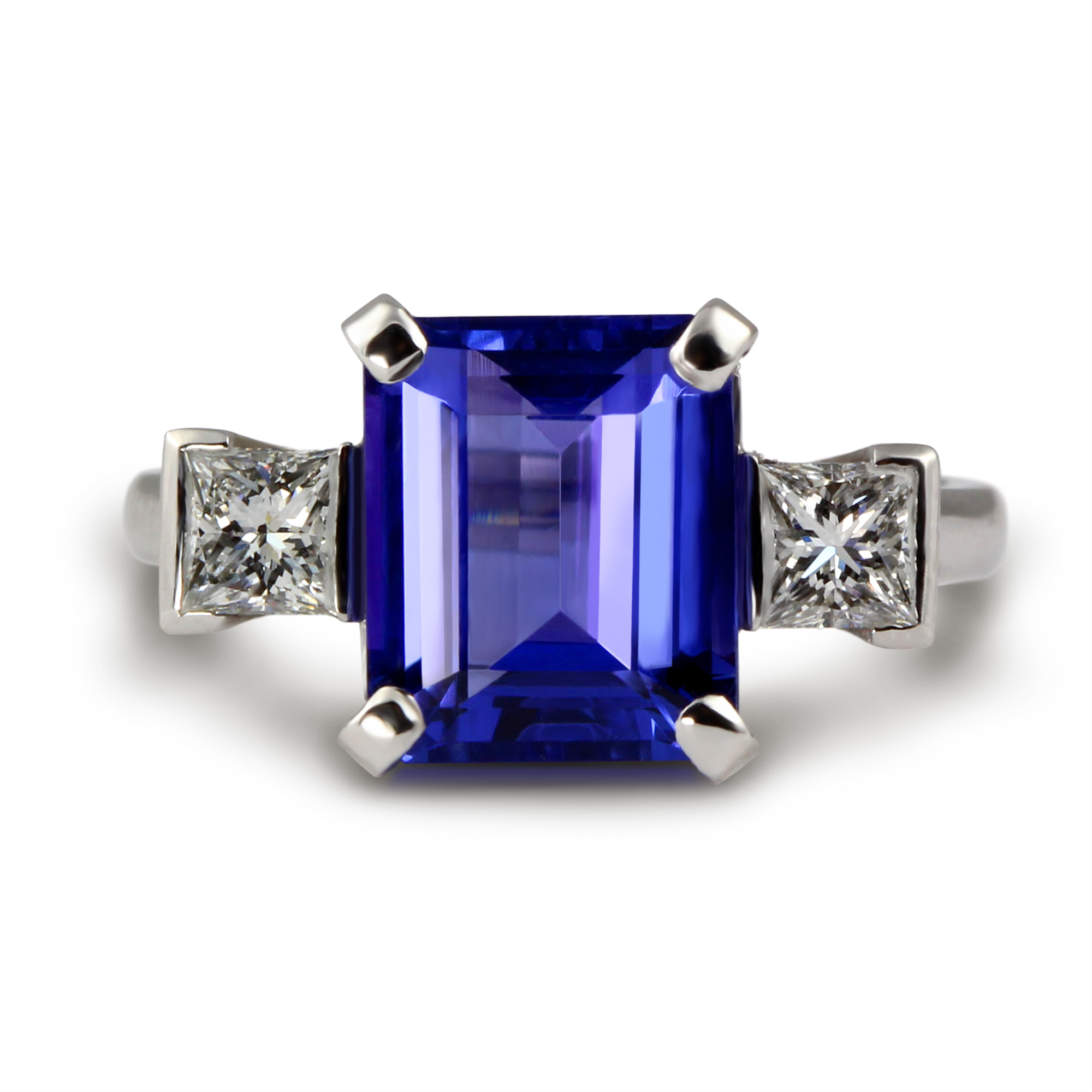with sparkling store white accents sapphire ring cut princess tanzanite
