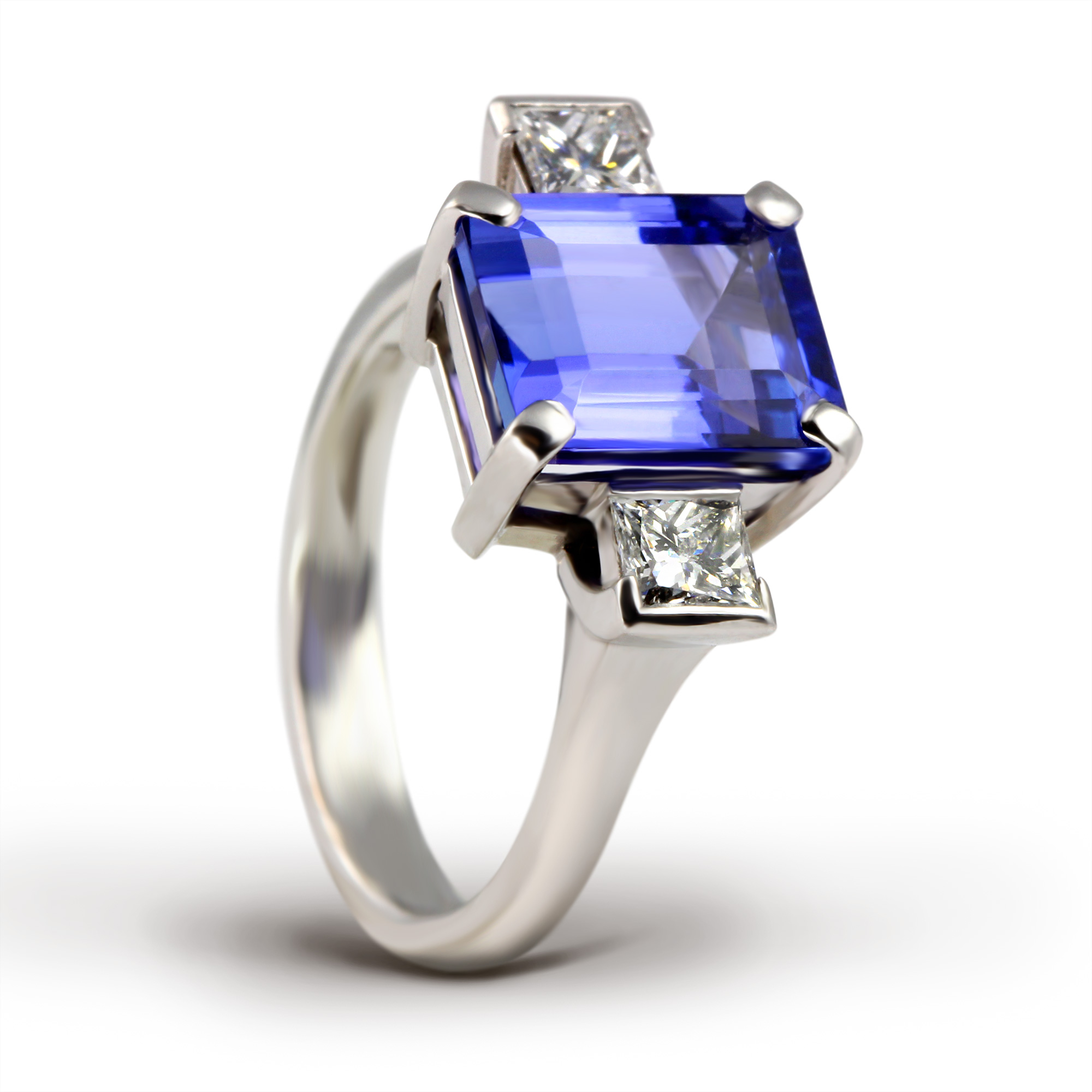 princess tanzanite l ring with diamond cut center grams white gold stone