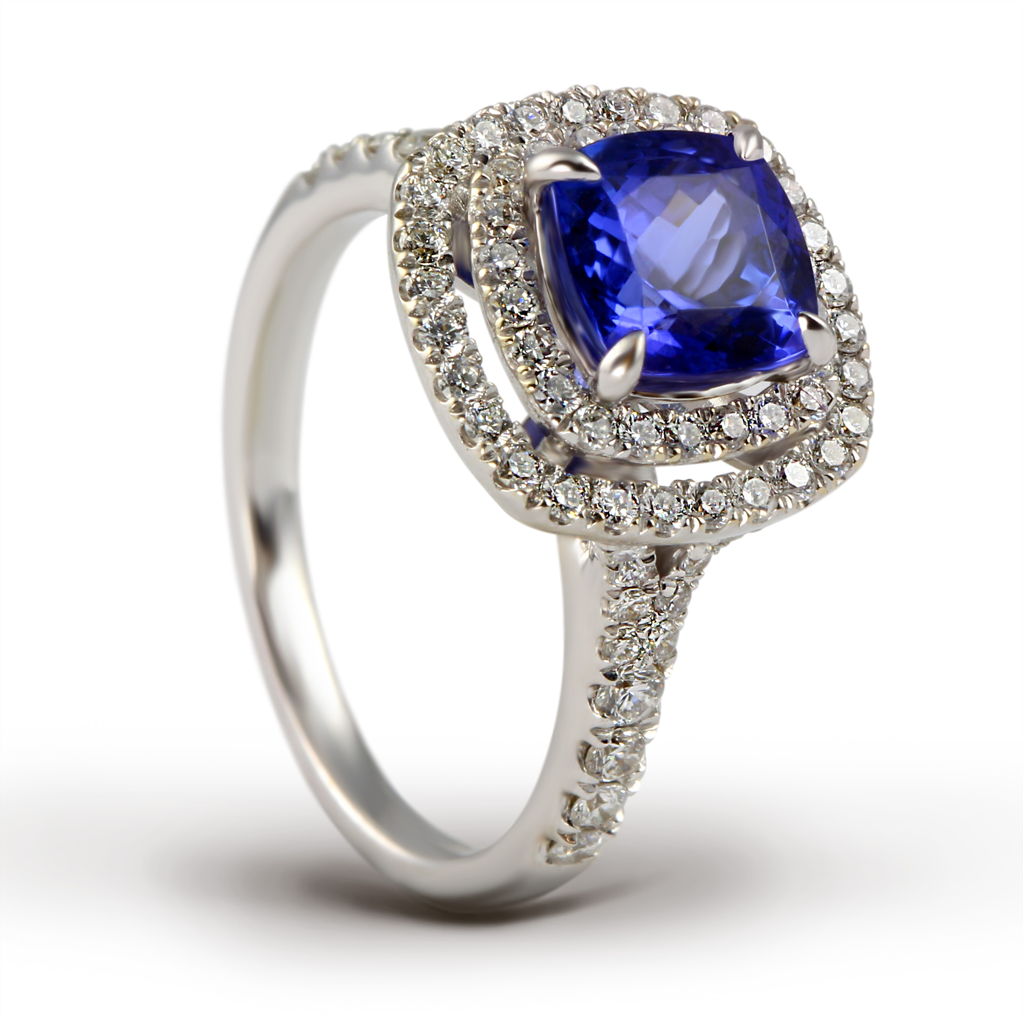 Tanzanite & Diamond Double Halo Ring Henry D Johnstone Jewellers