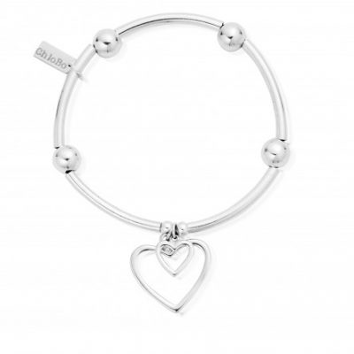 Chlobo Noodle Ball Double Open Heart Bracelet