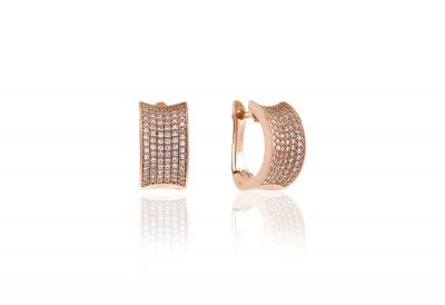 Earrings Dinami – 18k rose gold plated with white zirconia