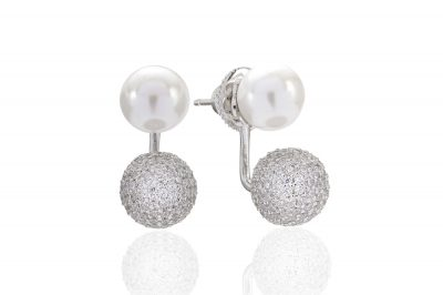 Ear jackets Bobbio Due with white zirconia and a pearl