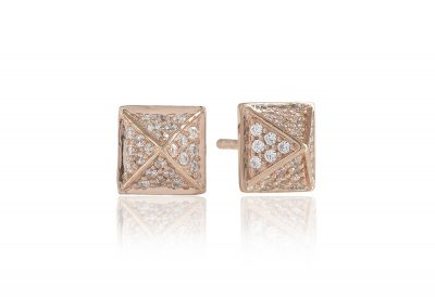 Earrings Panzano – 18k rose gold plated with white zirconia