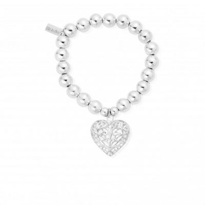 Chlobo Medium Ball Filigree Heart Bracelet