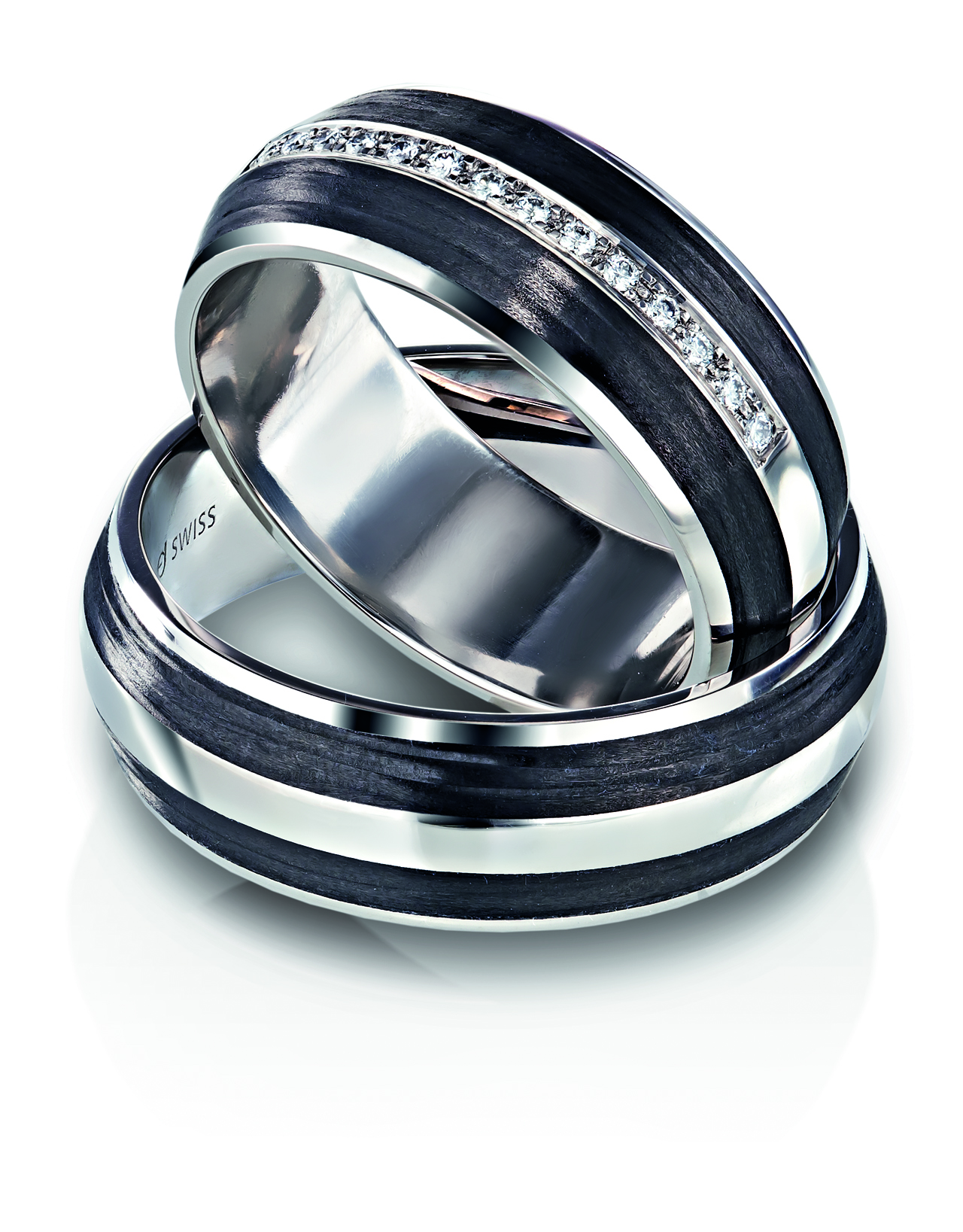 silver wedding rings fiber il cobalt band with bdsl carbon data