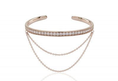 Simeri Catena Bangle – 18K Rose Gold Plated With White Cubic Zirconia