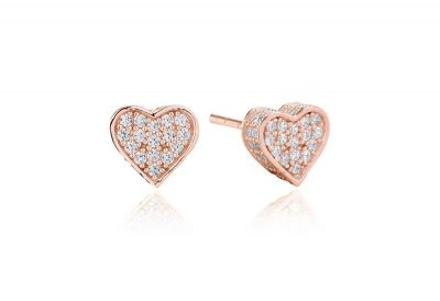 Amore Earrings – 18K Rose Gold Plated With White Cubic Zirconia