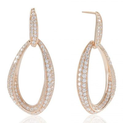 Lucena Drop Earrings – 18K Rose Gold Plated With White Cubic Zirconia