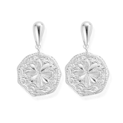 Chlobo Ariella Silver Flower Coin Earrings