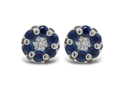 9ct white gold brilliant cut diamond and sapphire earrings