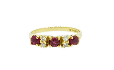Pre Owned 18ct Yellow Gold Ruby & Diamond Eternity Ring