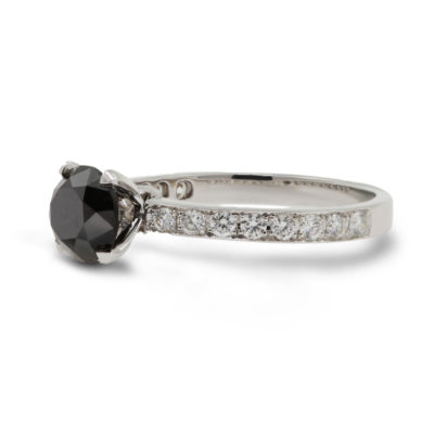 18ct White Gold Black Diamond Solitaire Ring with Diamond Set Shoulders