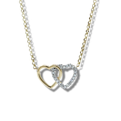 9ct Yellow Gold Interlocking Hearts Diamond Set Pendant on Chain