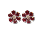 18ct White Gold Ruby & Diamond Daisy Design Floral Stud Earrings.