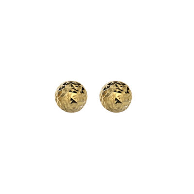 9ct Yellow Gold Small Diamond Cut Faceted Dome Stud Earrings