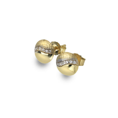 9ct Yellow Gold Small Textured/Polished Finish CZ Stud Earrings.