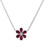 18ct White Gold Ruby & Diamond Daisy Design Floral Necklace