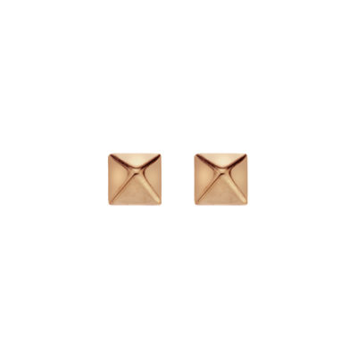 9ct Rose Gold Small Polished Finish Pyramid Stud Earrings