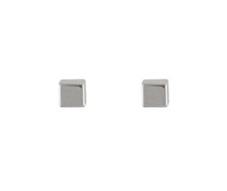 9ct White Gold Small Polished Finish Cube Stud Earrings.