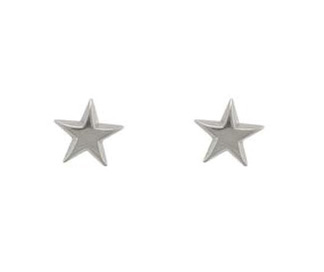 9ct White Gold Polished Finish Star Stud Earrings.