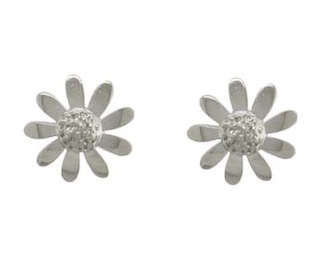 9ct White Gold Polished/Textured Daisy Stud Earrings.