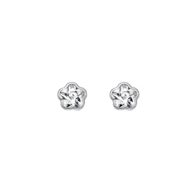 9ct White Gold Rub-over CZ Flower Stud Earrings