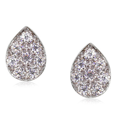 Carat Silver Pear Shaped Brilliant Cluster Stud Earrings