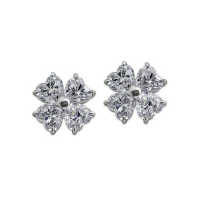 Carat Heart Shape Flower Studs