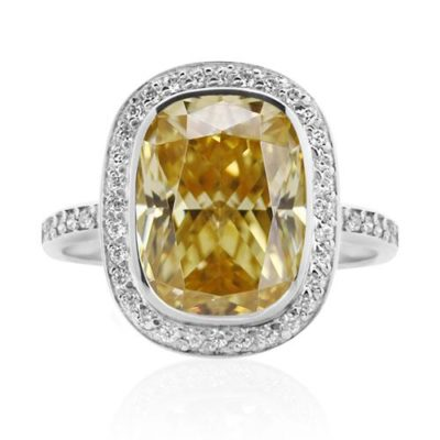 Carat Grand Cushion Border Set In Fancy Yellow Ring