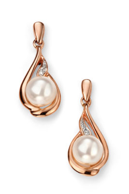 9ct Rose Gold Diamond Drop and Pearl Earring