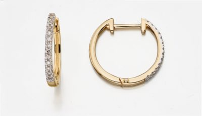 9ct Yellow Gold Diamond Huggie Hoop Earrings