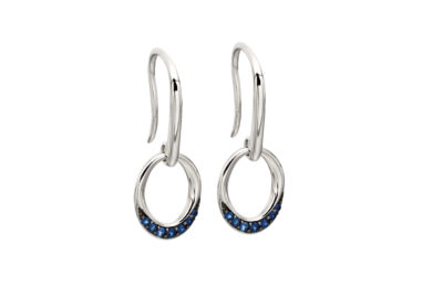 9ct White Gold Sapphire Pavé Oval Shaped Earrings