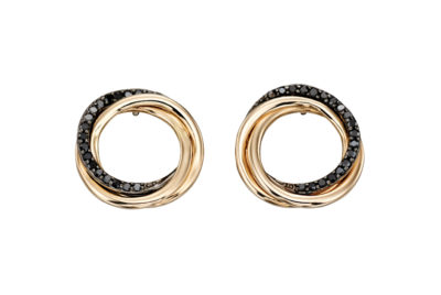 9ct Yellow Gold and Black diamond Open Circle Earrings