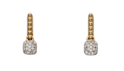 9ct Yellow Gold Diamond Pavé Cushion Drop Earrings