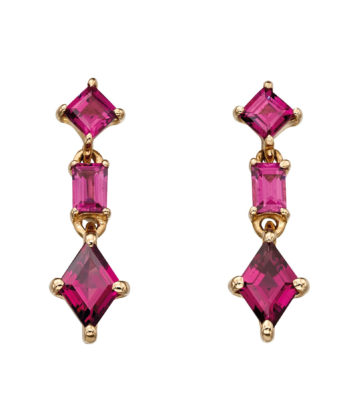 9ct Yellow Gold Three Stone Brazilian Garnet Earrings