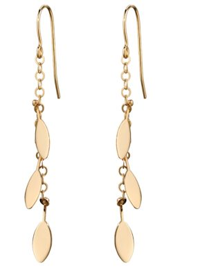 9ct Yellow Gold Leaf Pattern Charm Earrings