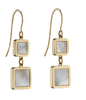 9ct Yellow Gold Double Cushion Mother of Pearl Drop Hook Earrings