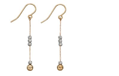9ct Mixed Metal Diamond cut ball drop earring