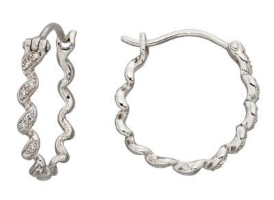 9ct White Gold Diamond Set Ribbon Twist Hoop Earrings