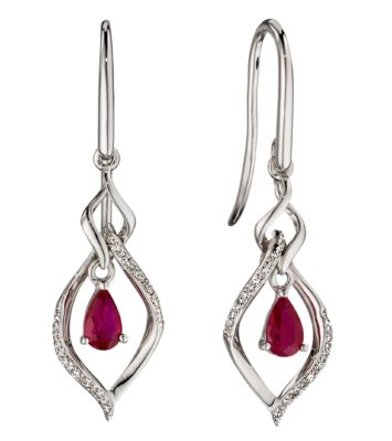 9ct White Gold Open Marquise Ruby & Diamond Earrings