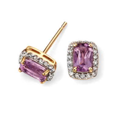 9ct Yellow Gold Diamond and Amethyst Cushion Earring