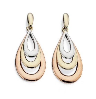 9ct Three Coloured Gold Teardrop Earrings
