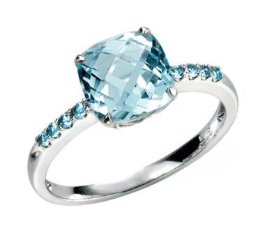 9ct White Gold Sky Blue Topaz Ring with Blue Topaz stone set shoulders