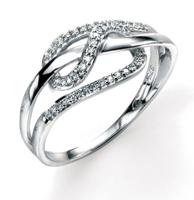 9ct White Gold Diamond Intertwined Loop Ring