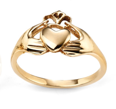 9ct Yellow gold Plain Claddagh Ring