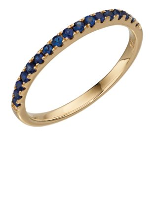 9ct Yellow Gold Sapphire Band Ring