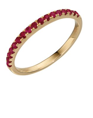 9ct Yellow Gold Ruby Band Ring